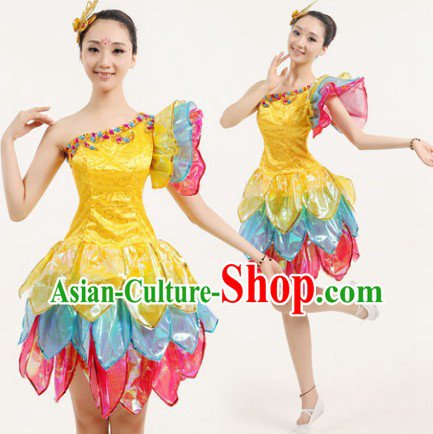 New Design Flower Dance Costumes and Headwear Complete Set for Women