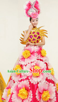 Big Events Parade Flower Dance Costumes and Headwear Complete Set for Women