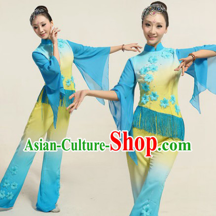 Fan Dance Group Dance Costumes and Headwear Complete Set for Women