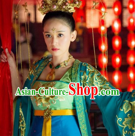 Ancient Chinese Blue Princess Embroidered Clothes Complete Set