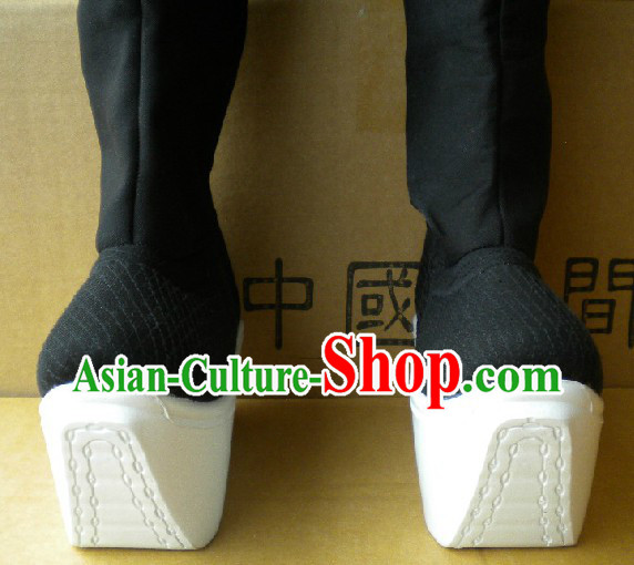 Black Peking Opera Long Boots with High Soles