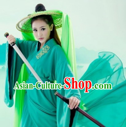 Ancient Chinese Green Hanfu Clothes and Hat