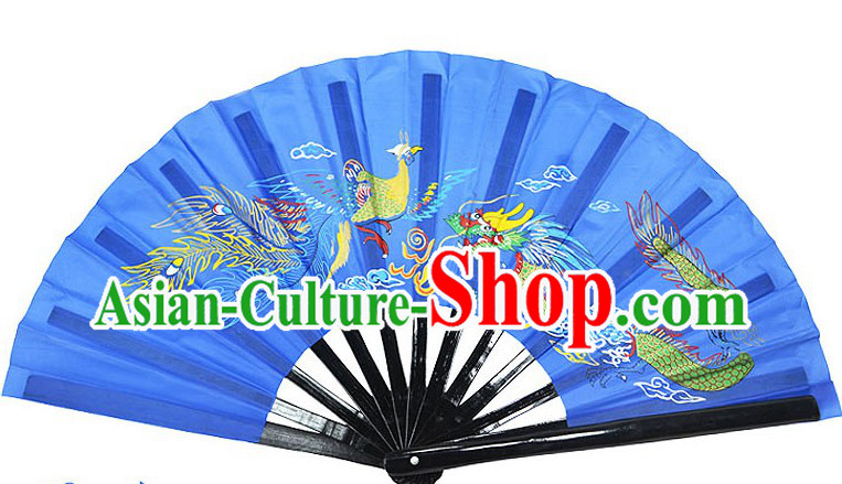 Blue Traditional Wushu Double Fans for Right and Left Hands
