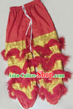 Red Wool Chinese Lion Dance Pants