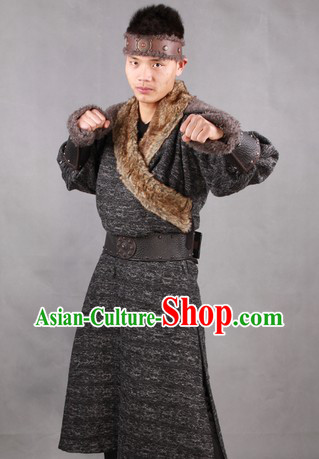 Traditional Mongolian Male Costumes and Headwear Complete Set