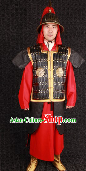 Ancient Chinese Royal Family Bodyguard General Armor Costumes and Helmet Complete Set for Men
