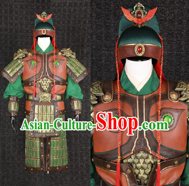 Ancient Chinese Guan Yu Guan Gong Armor Costumes and Helmet Complete Set for Men