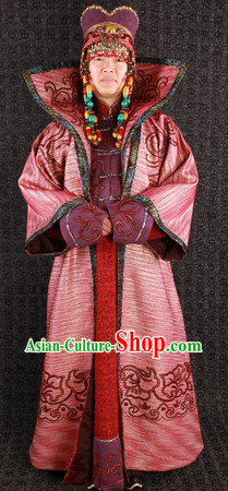 Traditional Mongolian Queen Clothes and Hat for Women
