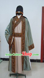 Ancient Chinese Tang Dynasty Poet Scholar Clothing and Hat Complete Set for Men