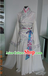 Ancient Chinese White Water Sleeves Dance Costumes for Women