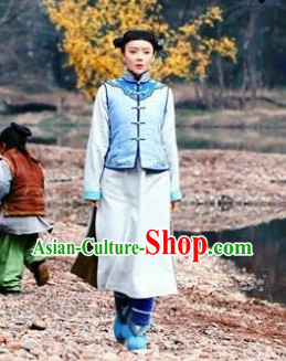Ancient Chinese Manchu Minority Lian Cheng Blouse and Skirt Complete Set for Women