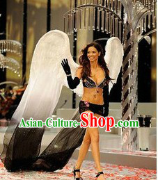 Handmade White and Black Feather Angel Wings Dance Performance Prop