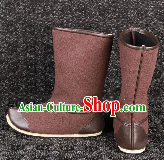 Ancient Chinese Coffee Color Handmade Long Hanfu Boots