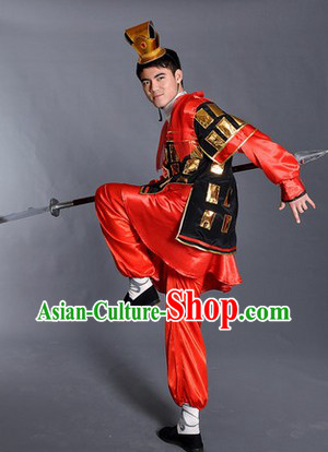 Ancient Chinese Red Guard Costumes and Hat for Men