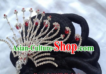 Chinese Opera Hua Dan Black Wig and Phoenix Accessory