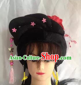 Chinese Opera Hua Dan Black Wig and Accessories