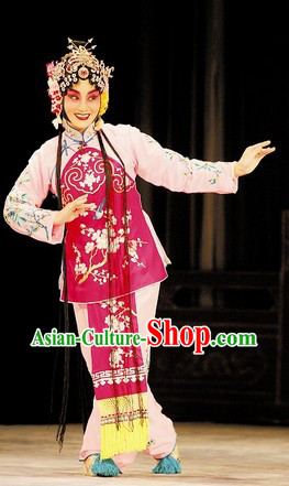 Traditional Chinese Pink Peking Opera Hua Dan Jacket and Skirts for Kids
