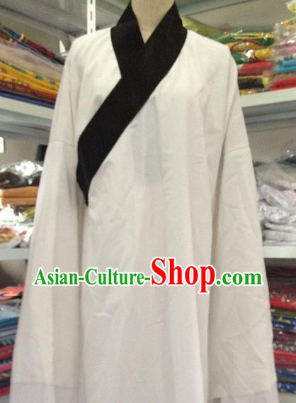 Long White Robe with Black Collar