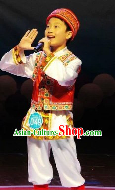 Chinese Ethnic Dance Costumes and Hat for Boys