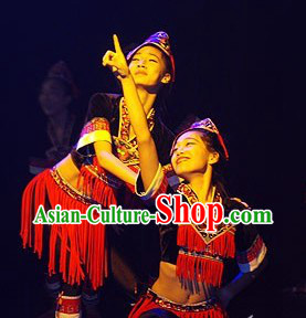 Folk Ethnic Dance Costumes and Hat Complete Set