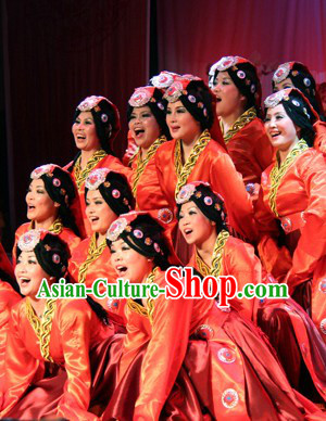 Traditional Chinese Tibetan Dance Costumes Complete Set