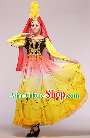 Uyghur Nationality Xinjiang Dance Costumes Complete Set