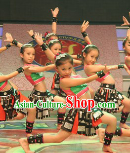Miao Ethnic Folk Dance Costumes Complete Set for Kids
