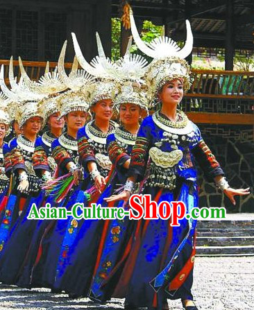 Traditional Chinese Miao Tribe Clothes and Silver Hat