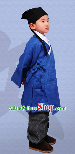 Ancient Chinese Ming Dynasty Long Robe and Pants for Children