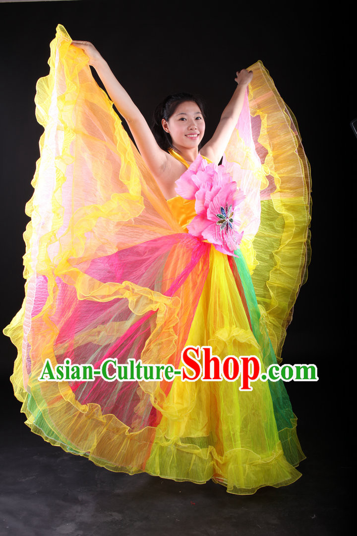 Traditional Chinese Stage Performance Dance Costumes and Headwear Complete Set for Women
