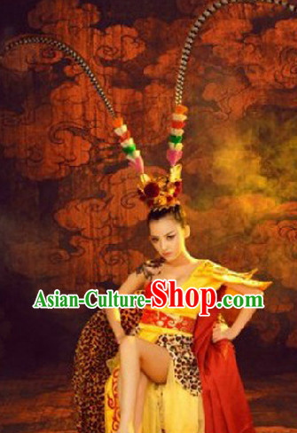 Monkey King Sun Wukong Female Version Costumes and Headwear Complete Set