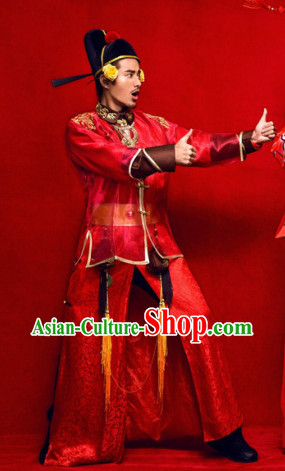 Chinese Classic Wedding Bridegroom Outfit and Hat