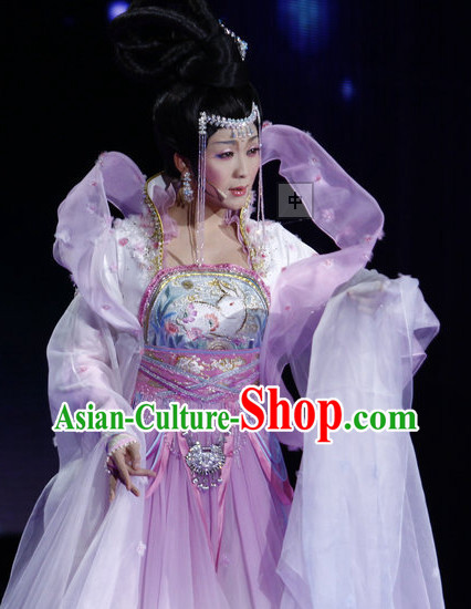Li Yugang Chang E Moon Goddess Costumes and Hair Accessories Complete Set with Long Trail