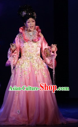 Professional Stage Performance Chinese Princess Costumes and Hair Accessories Complete Set