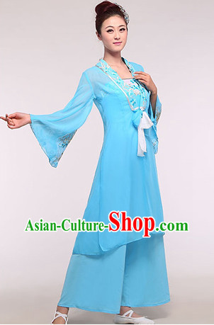 Chinese Classic Blue Stage Performance Dance Suit and Headdress