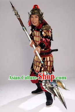 Ancient Chinese Solider Armor Outfits and Hat Complete Set for Men