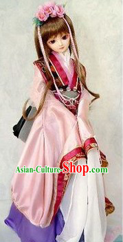 Chinese COS Ancient Costumes and Headdress Complete Set