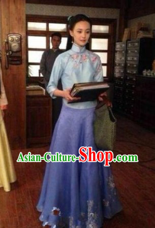 Traditional Blue Minguo Time Lady Clothes