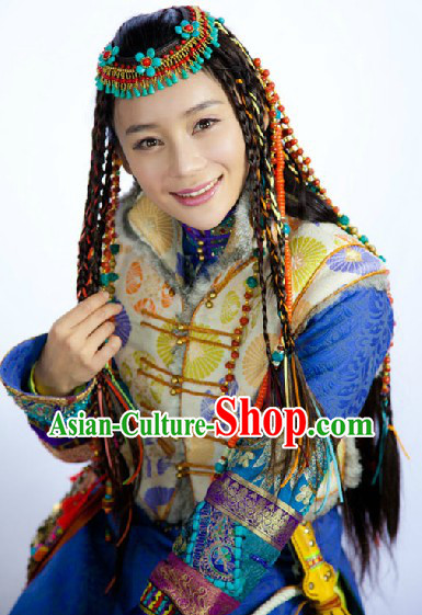Ancient China Ethnic Princess Clothing and Headdress Complete Set