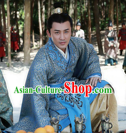 Chinese Han Clothing Royal Palace Emperor Outfit and Crown Complete Set