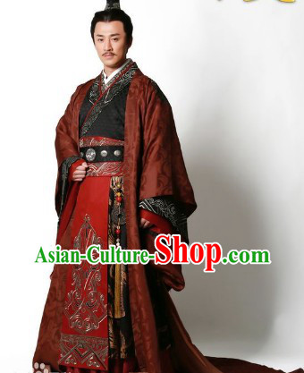 Chinese Classic Han Emperor Clothing and Crown Complete Set