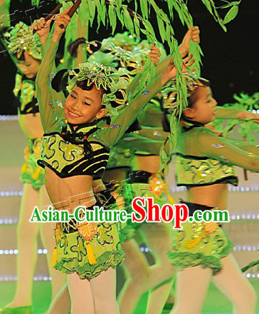 Chinese Willow Dance Costumes and Props Complete Set for Kids