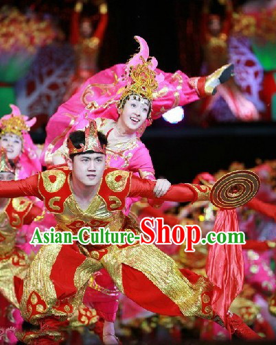Chinese Spring Festival Gala 2014 Opening Dance Gong Dancer Costumes and Headwear Complete Set