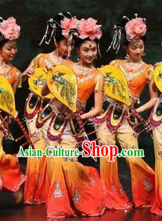 Professional Stage Performance Chinese Lute Group Dance Costumes Complete Set