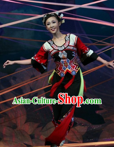Traditional Chinese Folk Ethnic Dance Costumes Complete Set