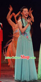 Green Jasmine Flower Chorus Singing Costume and Headdress Complete Set