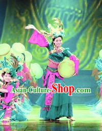 Chinese Ethnic Drum Dance Costume Dancewear and Headdress Complete Set
