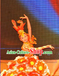 Chinese Female Petal Dance Costume Dancewear and Headdress Complete Set