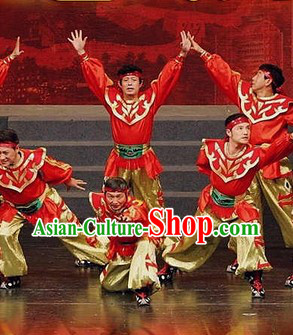 Mongolian Red Dance Costumes for Festival Celebrations