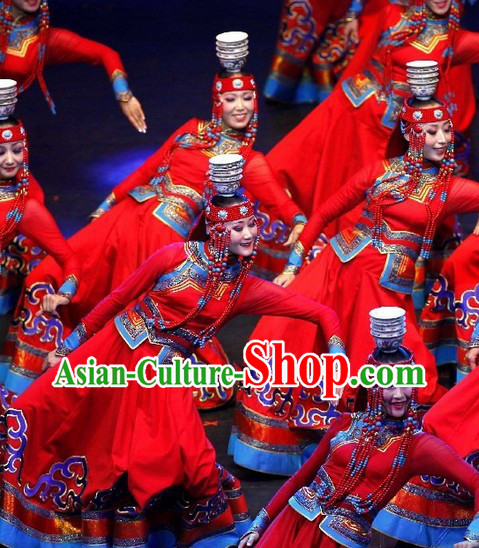 Mongolian Red Dance Costumes and Headdress Complete Set